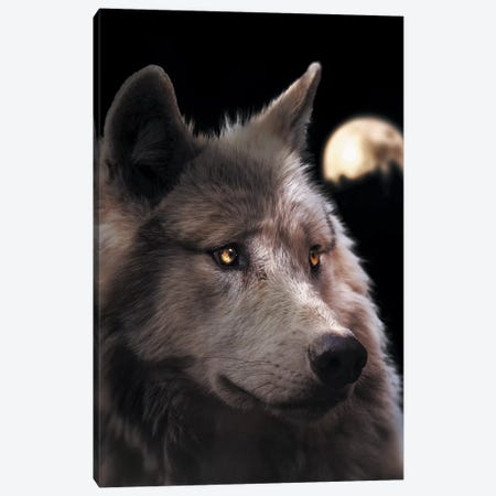 Wolf Moon Canvas Print #ZGA60} by Zenja Gammer Canvas Wall Art