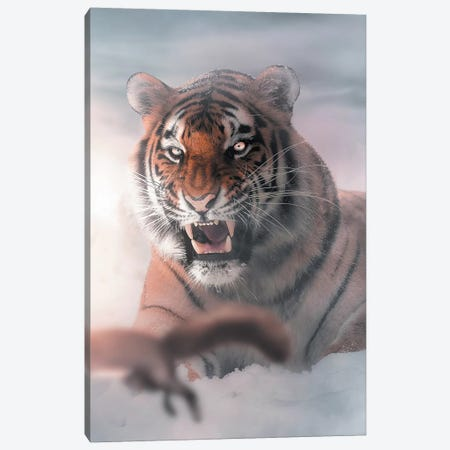 The Tiger & Squirrel Canvas Print #ZGA65} by Zenja Gammer Canvas Art Print