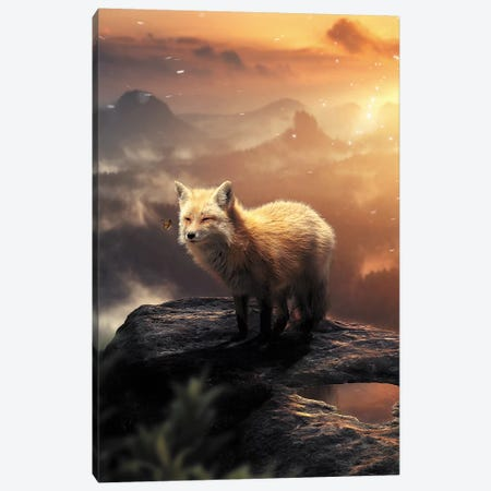 The Fox On The Mountain Canvas Print #ZGA69} by Zenja Gammer Canvas Art