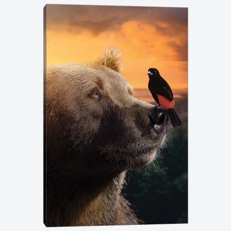 The Bear & Bird Canvas Print #ZGA86} by Zenja Gammer Art Print