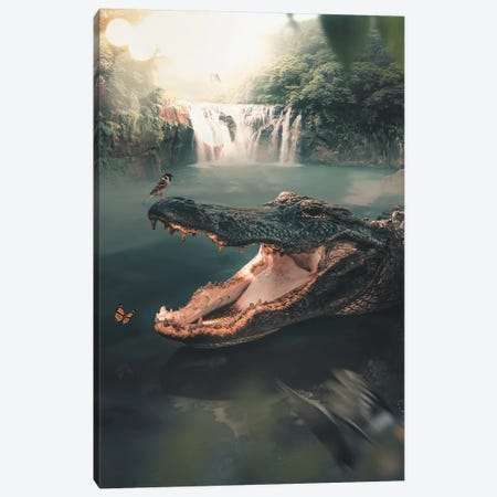 Crocodile Canvas Print #ZGA9} by Zenja Gammer Canvas Wall Art