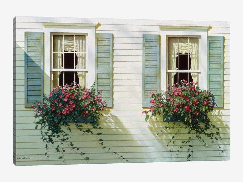 Windows With Flowerboxes by Zhen-Huan Lu 1-piece Canvas Print