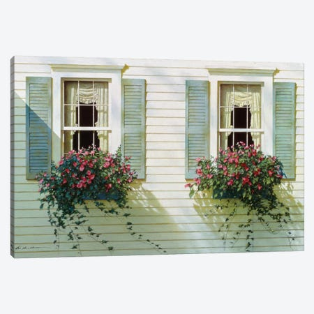 Windows With Flowerboxes Canvas Print #ZHL129} by Zhen-Huan Lu Canvas Artwork