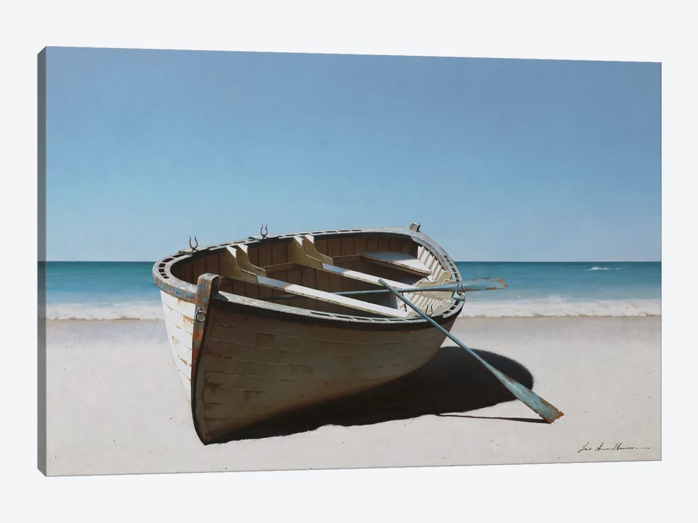 Lonely Boat On Beach by Zhen-Huan Lu 1-piece Canvas Art Print