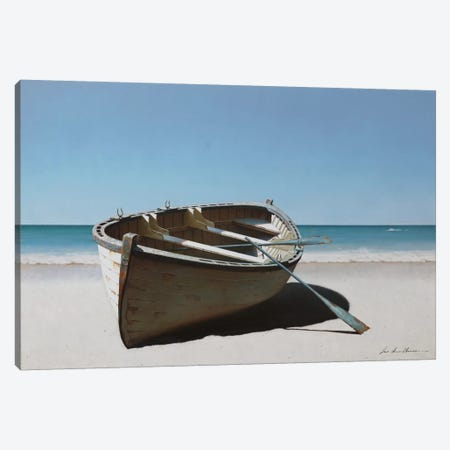 Lonely Boat On Beach Canvas Print #ZHL136} by Zhen-Huan Lu Canvas Artwork