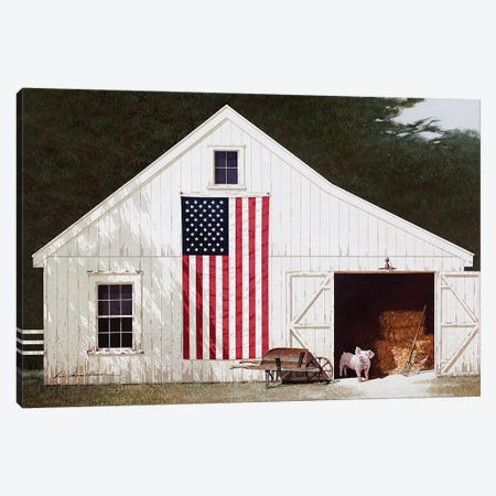 Barn With Piglet Canvas Print #ZHL140} by Zhen-Huan Lu Canvas Artwork