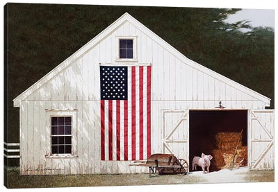 Barn With Piglet Canvas Art Print