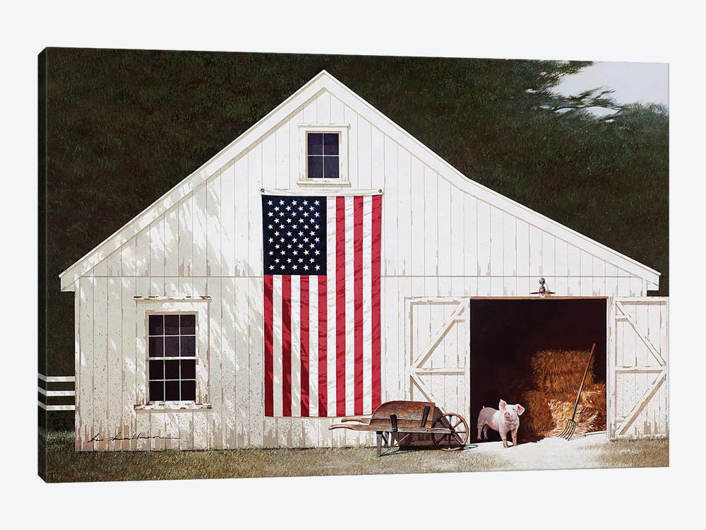 Barn With Piglet 1-piece Canvas Art