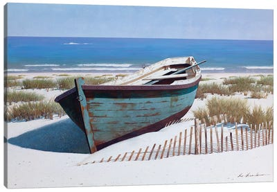 Blue Boat on Beach Canvas Art Print