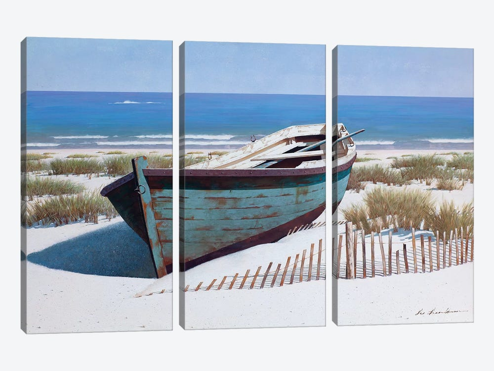 Blue Boat on Beach by Zhen-Huan Lu 3-piece Canvas Art Print