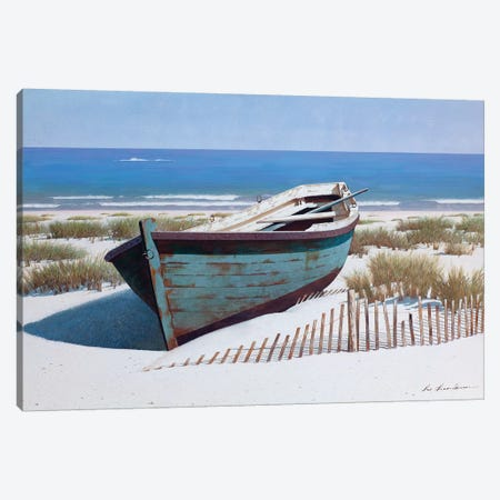 Blue Boat on Beach Canvas Print #ZHL143} by Zhen-Huan Lu Canvas Wall Art