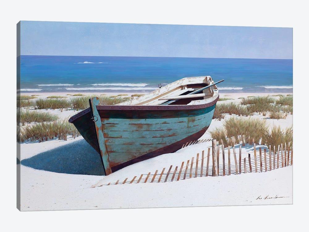 Blue Boat on Beach by Zhen-Huan Lu 1-piece Canvas Art Print