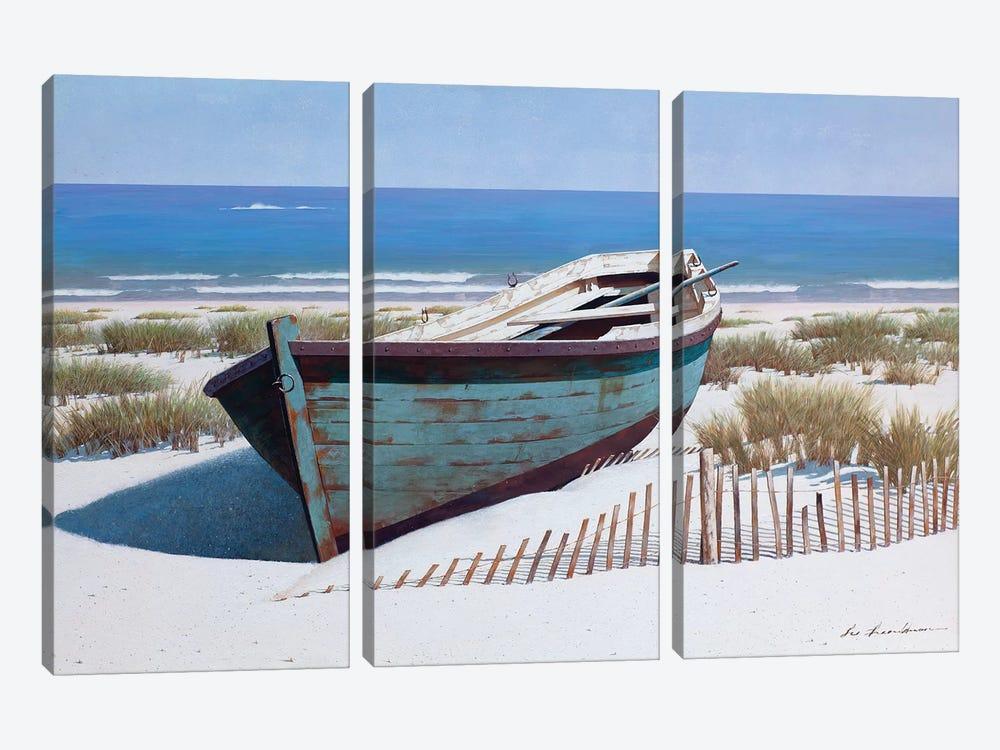 Blue Boat on Beach by Zhen-Huan Lu 3-piece Canvas Art Print