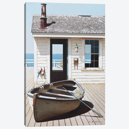 Boat on the Dock Canvas Print #ZHL144} by Zhen-Huan Lu Canvas Print