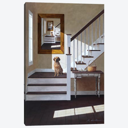 Droste and Dog On Stairs Canvas Print #ZHL145} by Zhen-Huan Lu Canvas Print