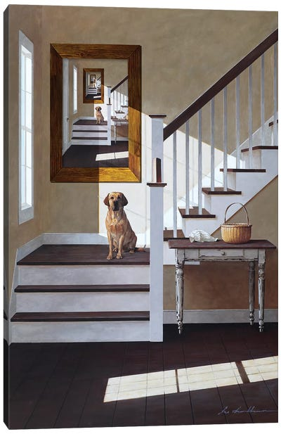 Droste and Dog On Stairs Canvas Art Print