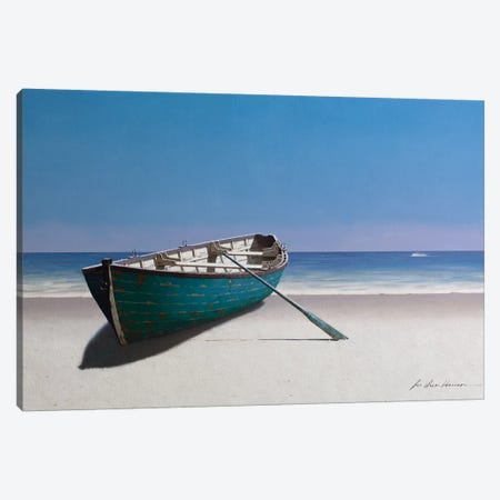 Blue Boat Canvas Print #ZHL150} by Zhen-Huan Lu Art Print