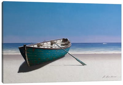 Blue Boat Canvas Art Print