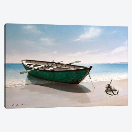 Green Boat Canvas Print #ZHL151} by Zhen-Huan Lu Art Print