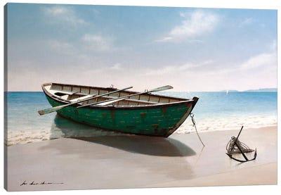 Green Boat Canvas Art Print