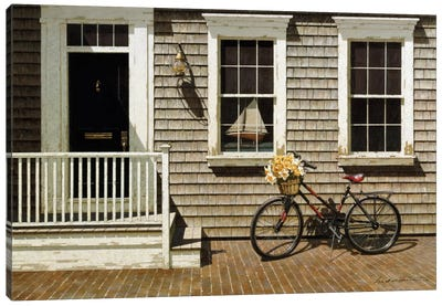 Bicycle's Basket Of Flowers Canvas Art Print