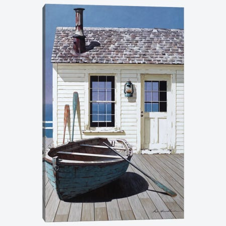 Blue Boat On Deck Canvas Print #ZHL16} by Zhen-Huan Lu Art Print