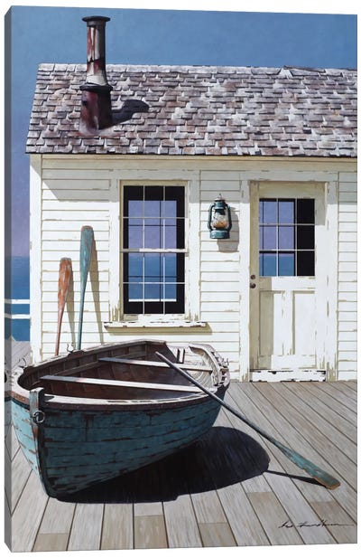 Blue Boat On Deck Canvas Art Print