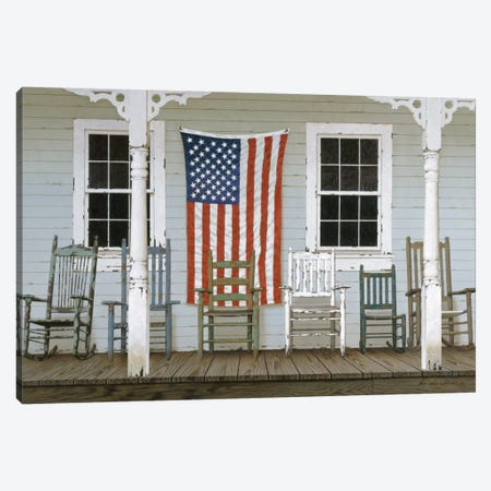 Chair Family With Flag Canvas Print #ZHL23} by Zhen-Huan Lu Art Print
