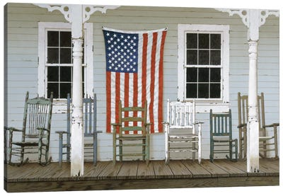 Chair Family With Flag Canvas Art Print