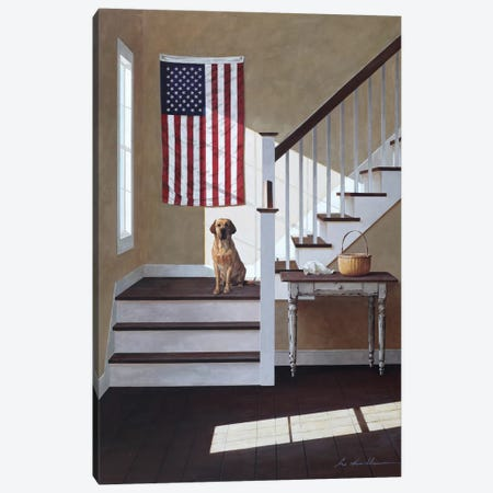 Dog On Stairs Canvas Print #ZHL30} by Zhen-Huan Lu Canvas Wall Art
