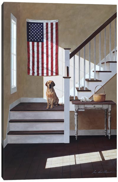 Dog On Stairs Canvas Art Print