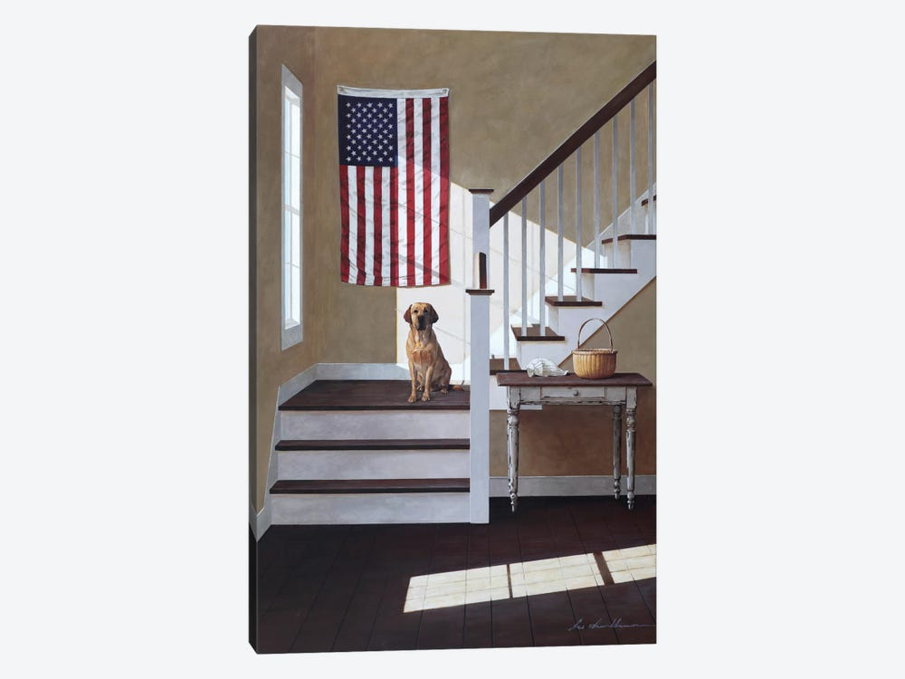 Dog On Stairs by Zhen-Huan Lu 1-piece Canvas Artwork