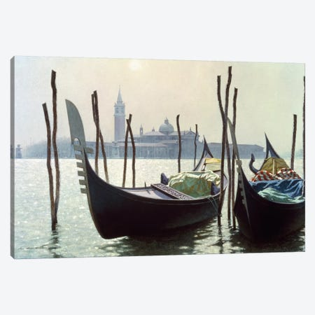 Gondolas in Venice Canvas Print #ZHL39} by Zhen-Huan Lu Canvas Art