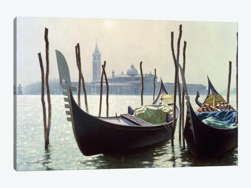 Gondolas in Venice by Zhen-Huan Lu 1-piece Canvas Art Print