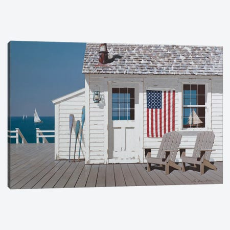 Dockside Flag Canvas Print #ZHL42} by Zhen-Huan Lu Art Print