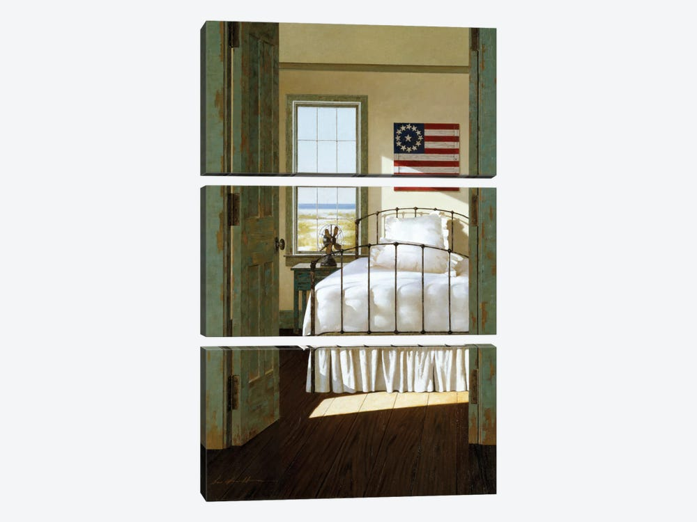 Beach House Bedroom by Zhen-Huan Lu 3-piece Canvas Print