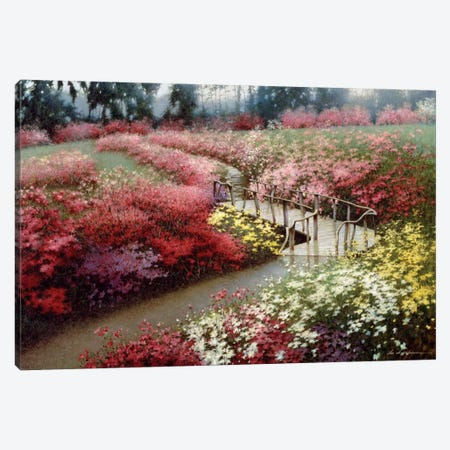 Monet's Flower Garden Canvas Print #ZHL62} by Zhen-Huan Lu Canvas Art Print