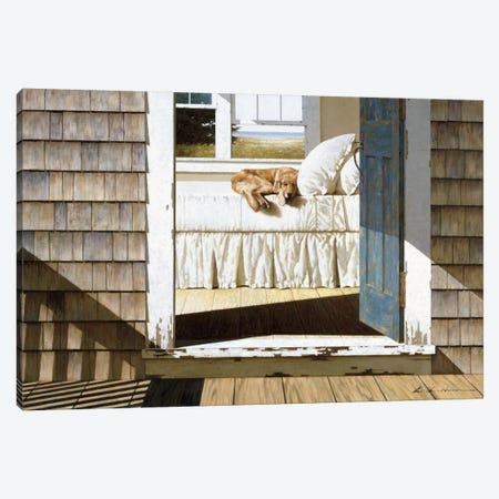 Beach House Dog Canvas Print #ZHL6} by Zhen-Huan Lu Art Print