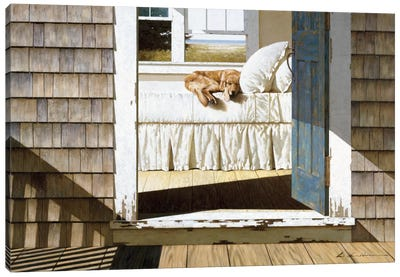 Beach House Dog Canvas Art Print