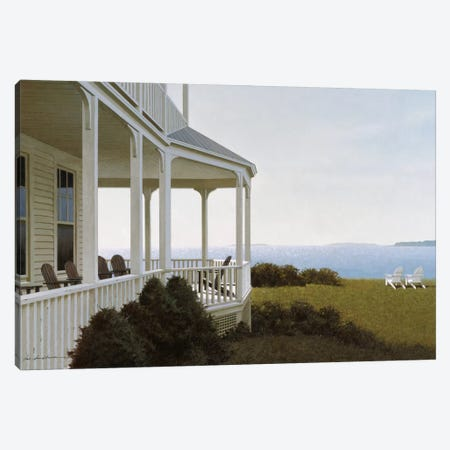 Porch Chairs Canvas Print #ZHL79} by Zhen-Huan Lu Canvas Artwork