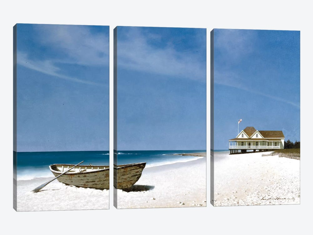 Beach House View II by Zhen-Huan Lu 3-piece Canvas Art Print