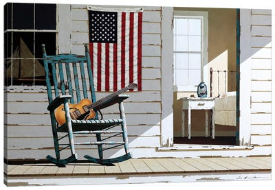Rocking Chair With Guitar Canvas Art Print