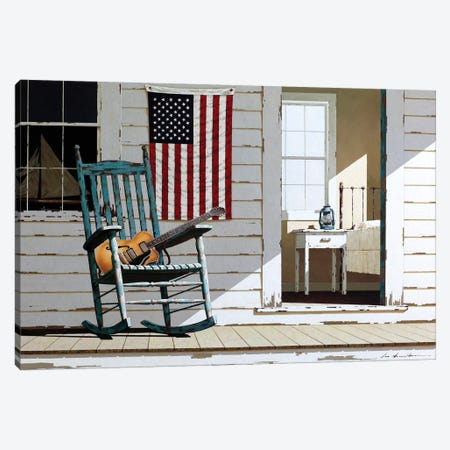 Rocking Chair With Guitar 3-Piece Canvas #ZHL95} by Zhen-Huan Lu Canvas Art Print