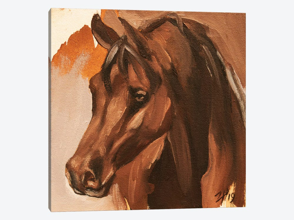 Equine Head Arab Chestnut (study 14) 2019 by Zil Hoque 1-piece Art Print