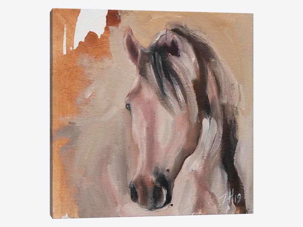 Equine Head Arab White (study 30) by Zil Hoque 1-piece Canvas Art Print