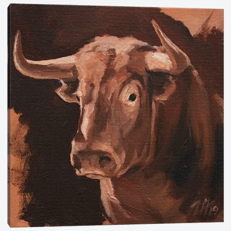 Toro Head Colorado (study 10) Canvas Print #ZHO149} by Zil Hoque Canvas Artwork