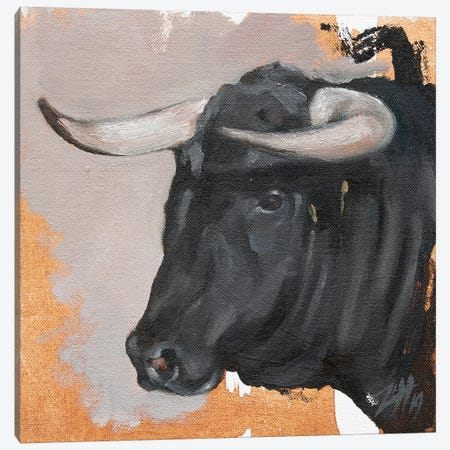 Toro Head Negro (study 38) Canvas Print #ZHO175} by Zil Hoque Canvas Artwork