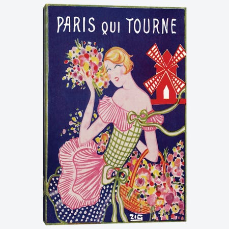 Moulin Rouge Advertisement: Paris Qui Tourne, 1929 Canvas Print #ZIG1} by ZIG Canvas Artwork