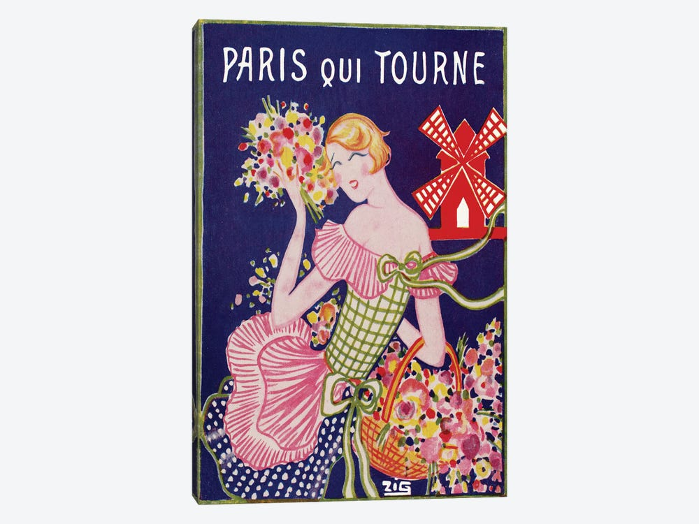 Moulin Rouge Advertisement: Paris Qui Tourne, 1929 by ZIG 1-piece Canvas Art