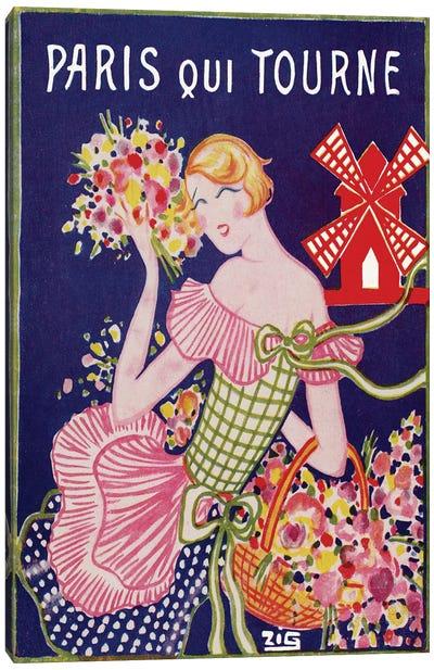 Moulin Rouge Advertisement: Paris Qui Tourne, 1929 Canvas Art Print